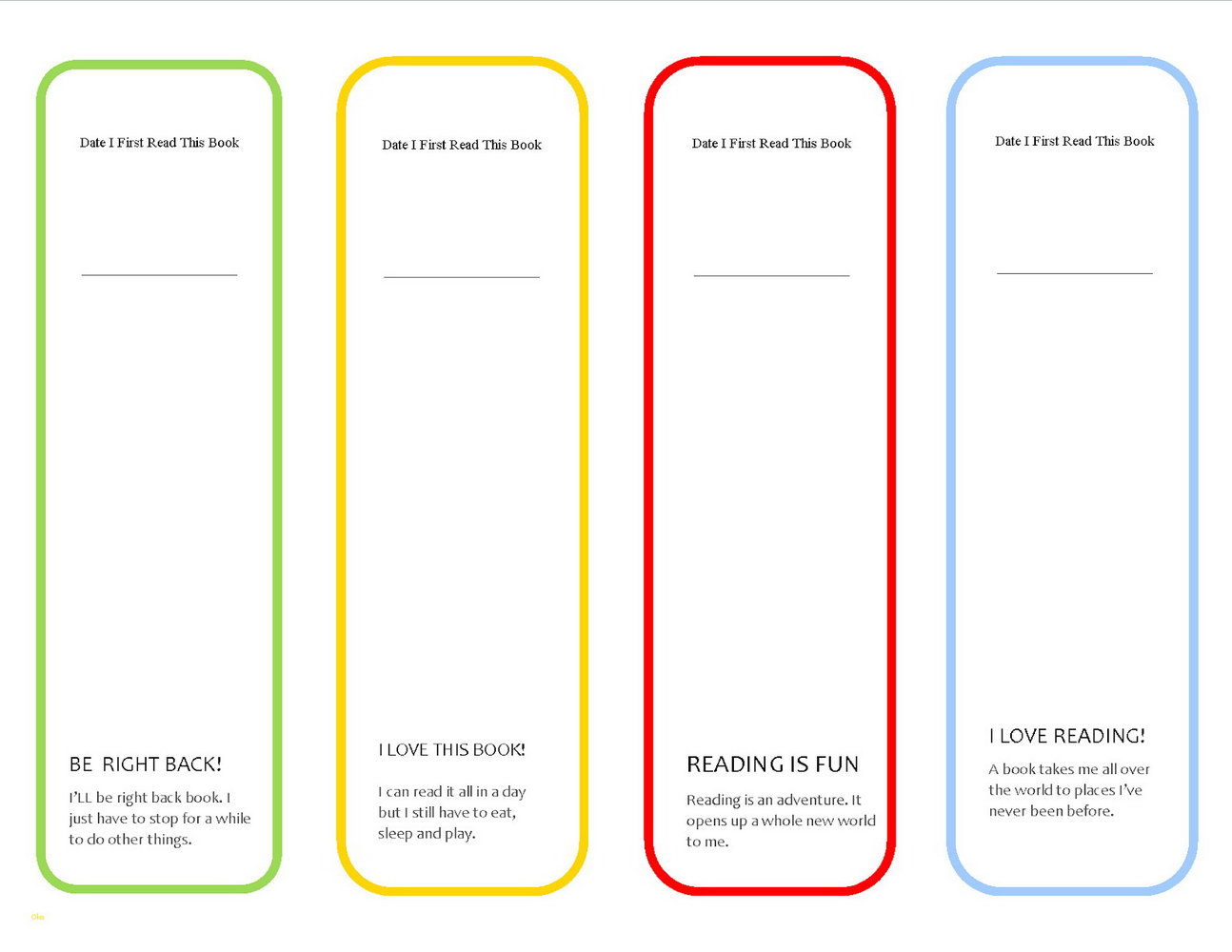 Avery Bookmark Template Number
