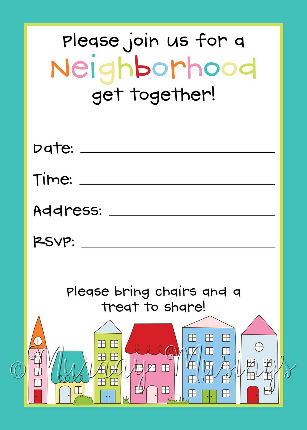 Block Party Invitation Template Free