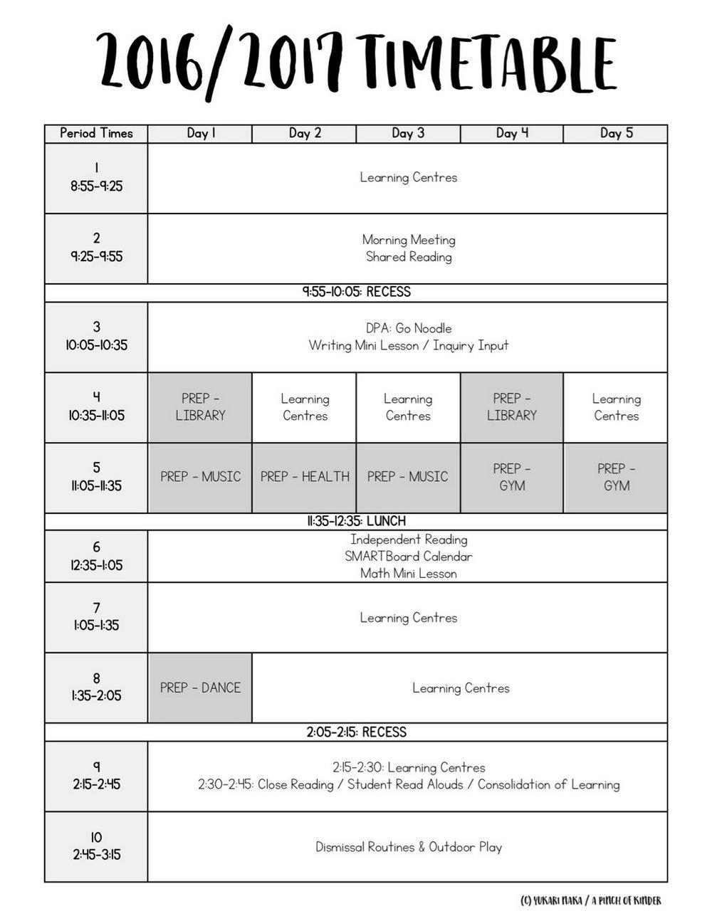 Daily Preschool Schedule Template