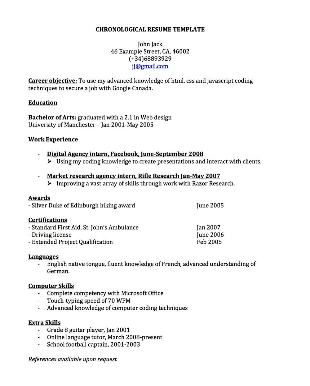 Free Chronological Resume Template Microsoft Word