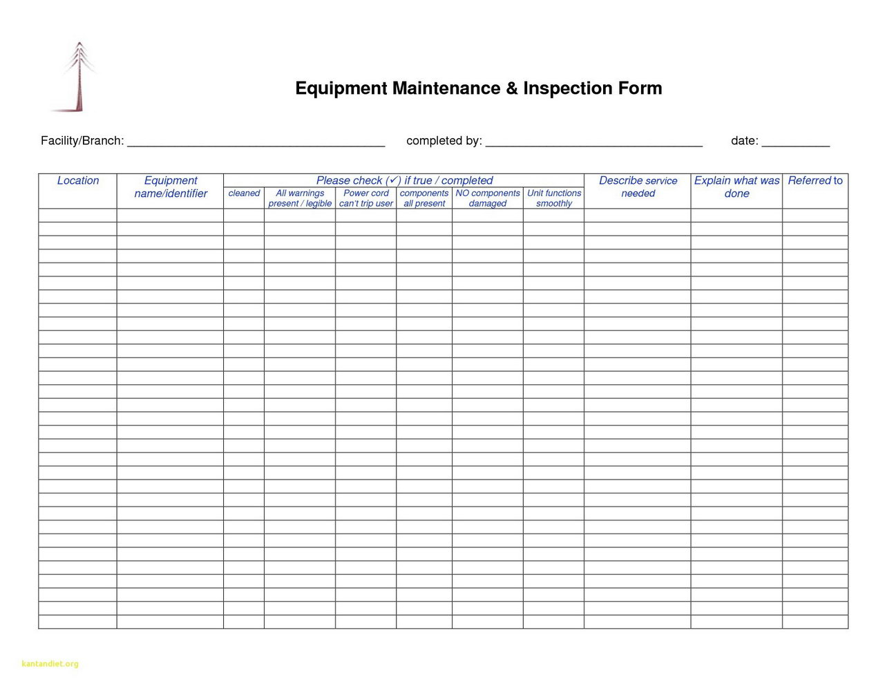 Machine Shop Inspection Report Template