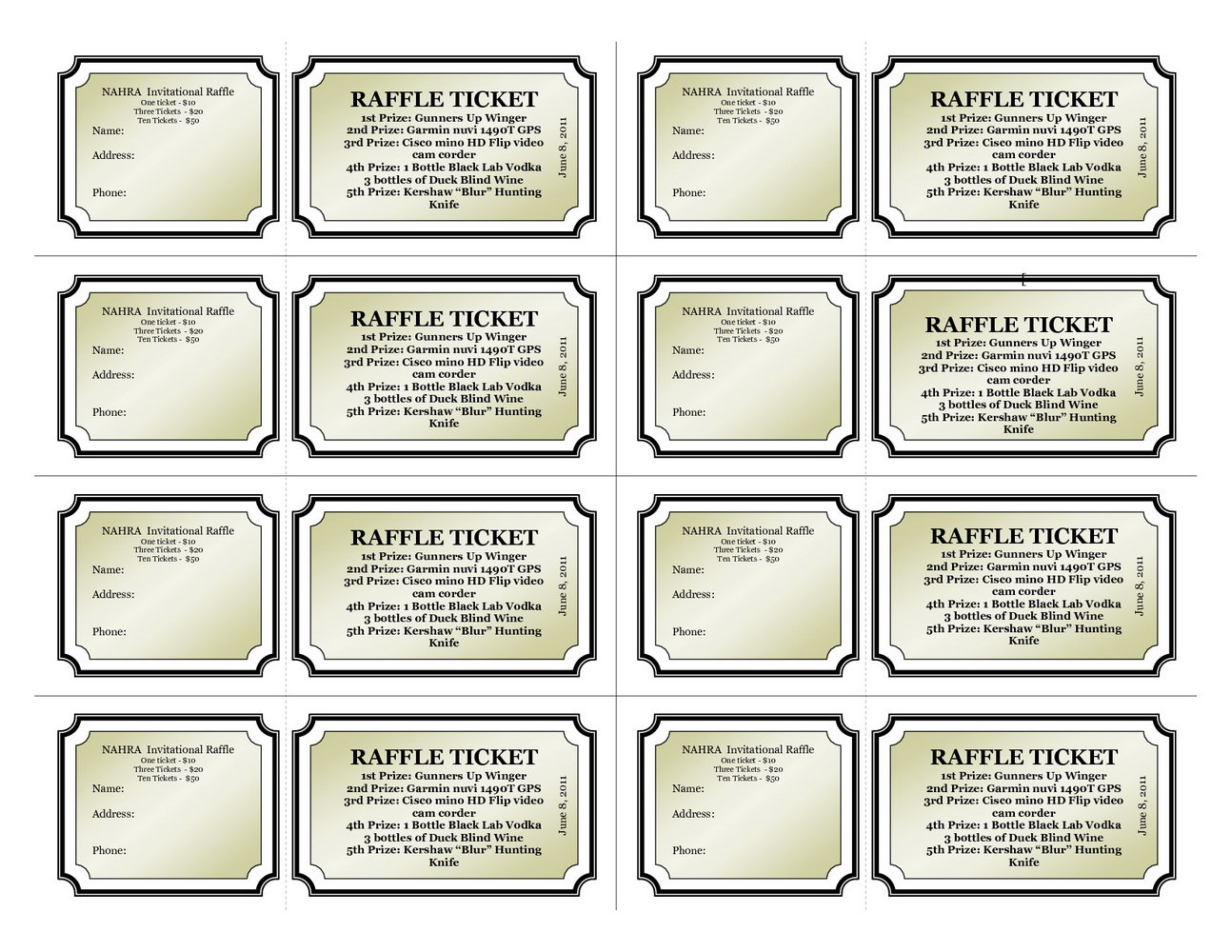 Printable Fundraiser Ticket Template