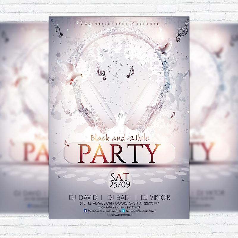 All White Party Flyer Template Free