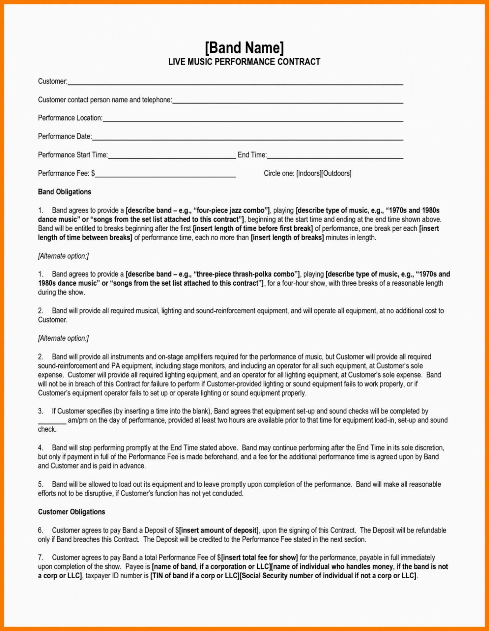 Artist Performance Contract Template