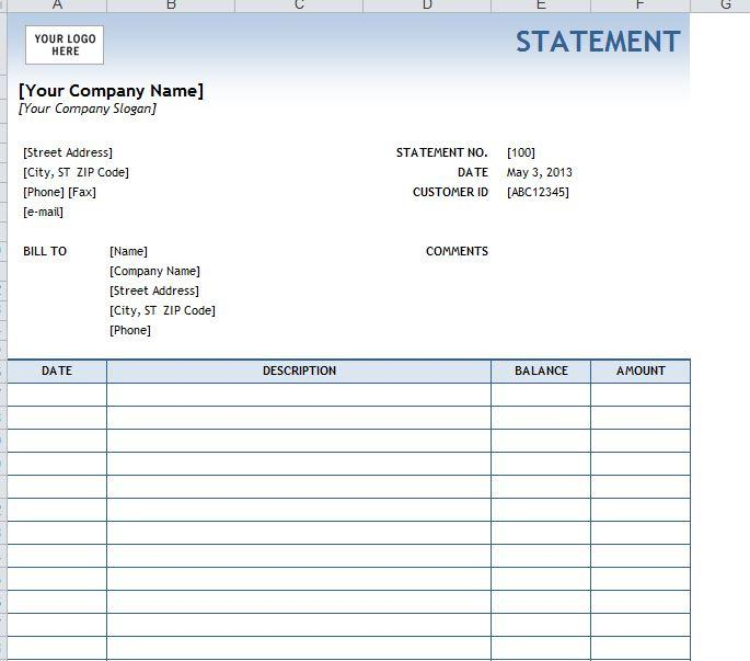 Billing Statement Template Excel 2007