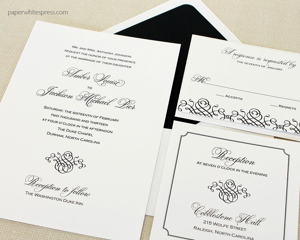 Black Tie Wedding Invitation Template