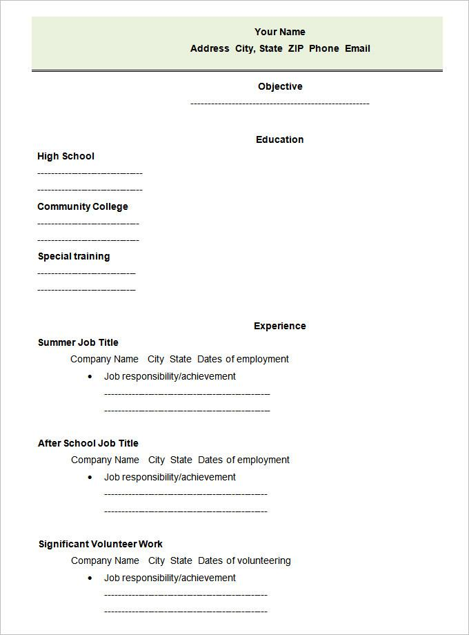 Blank Resume Template For Highschool Students