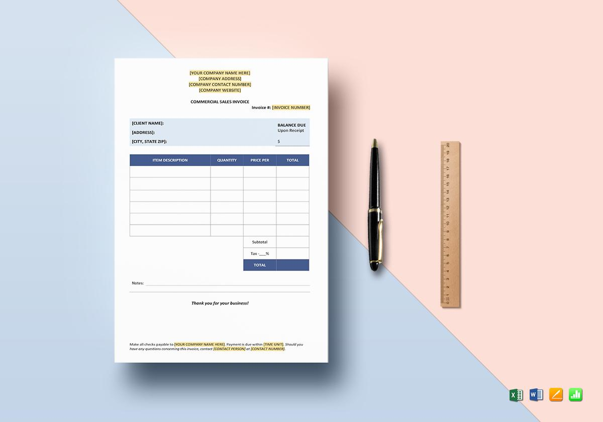 Commercial Invoice Template Google Docs