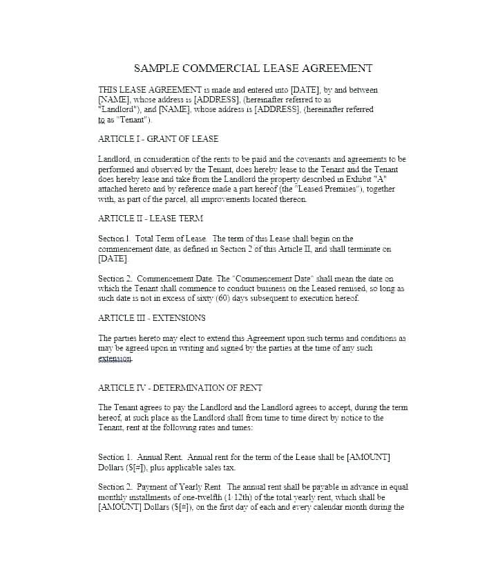 Commercial Lease Template Nz