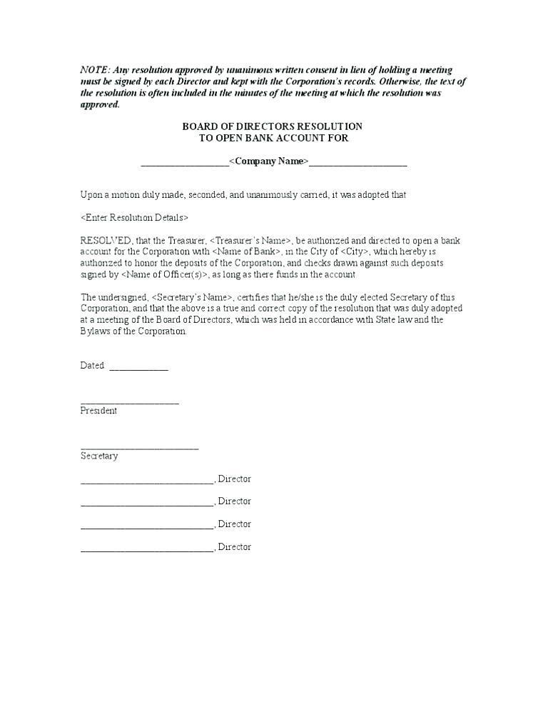 Company Board Resolution Letter