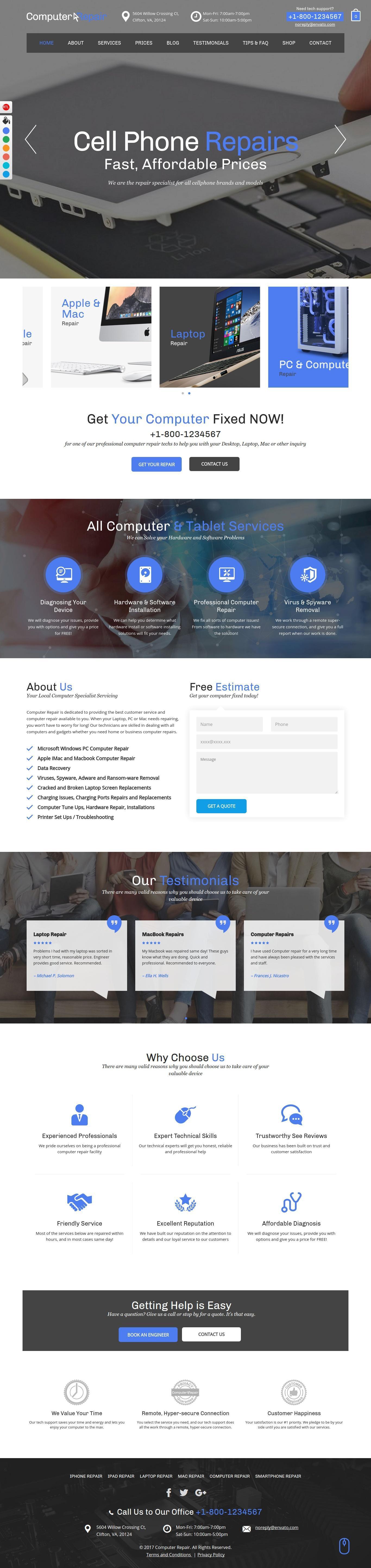 Computer Repair Website Template Wordpress