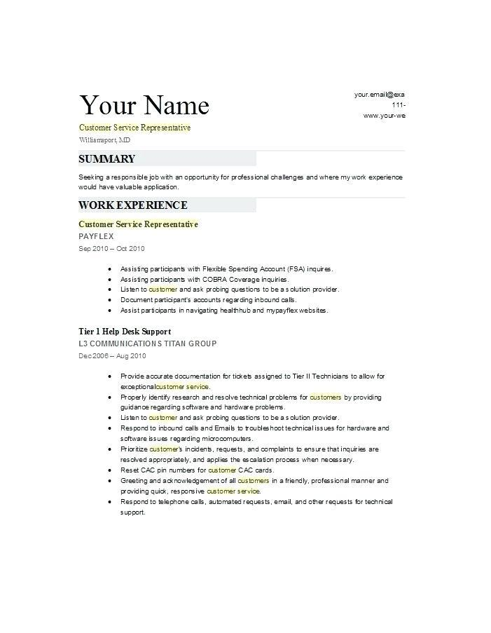 Customer Service Resume Template 2018