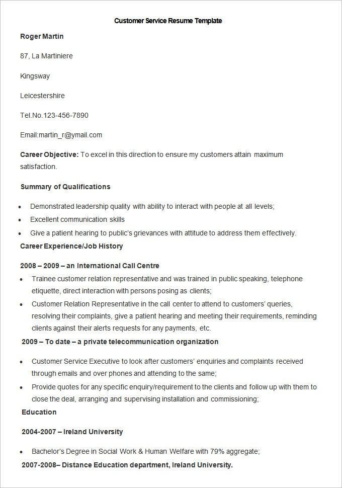 Customer Service Resume Template Pdf