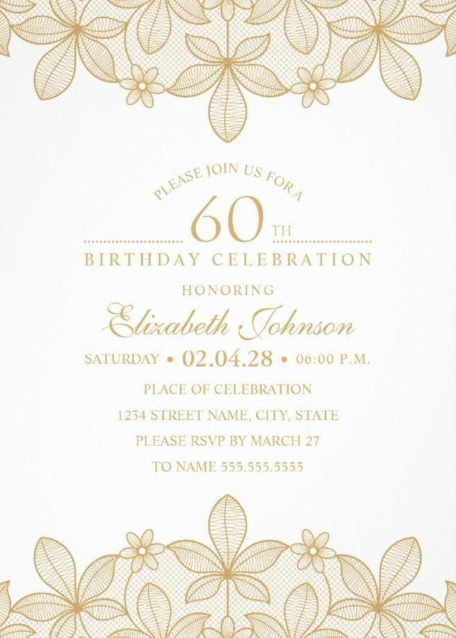 Elegant 60th Birthday Invitation Templates