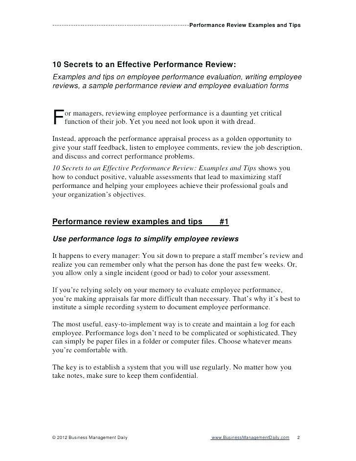 Employee Performance Reviews Sample Templates