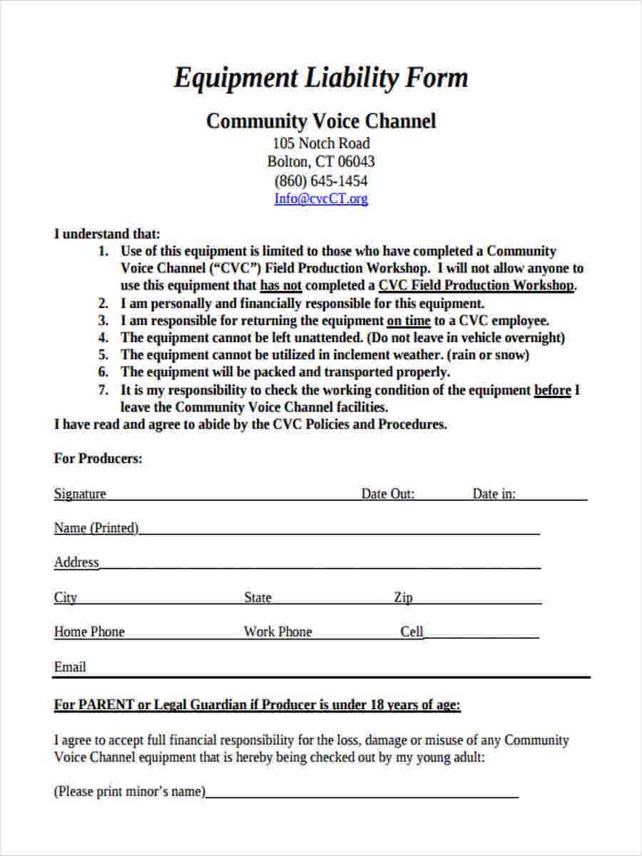 Equipment Liability Release Form Template