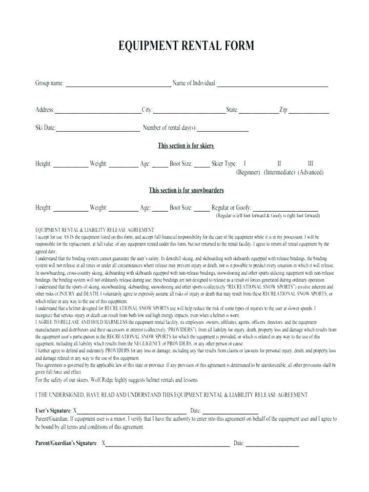 Equipment Rental Agreement Template Nz