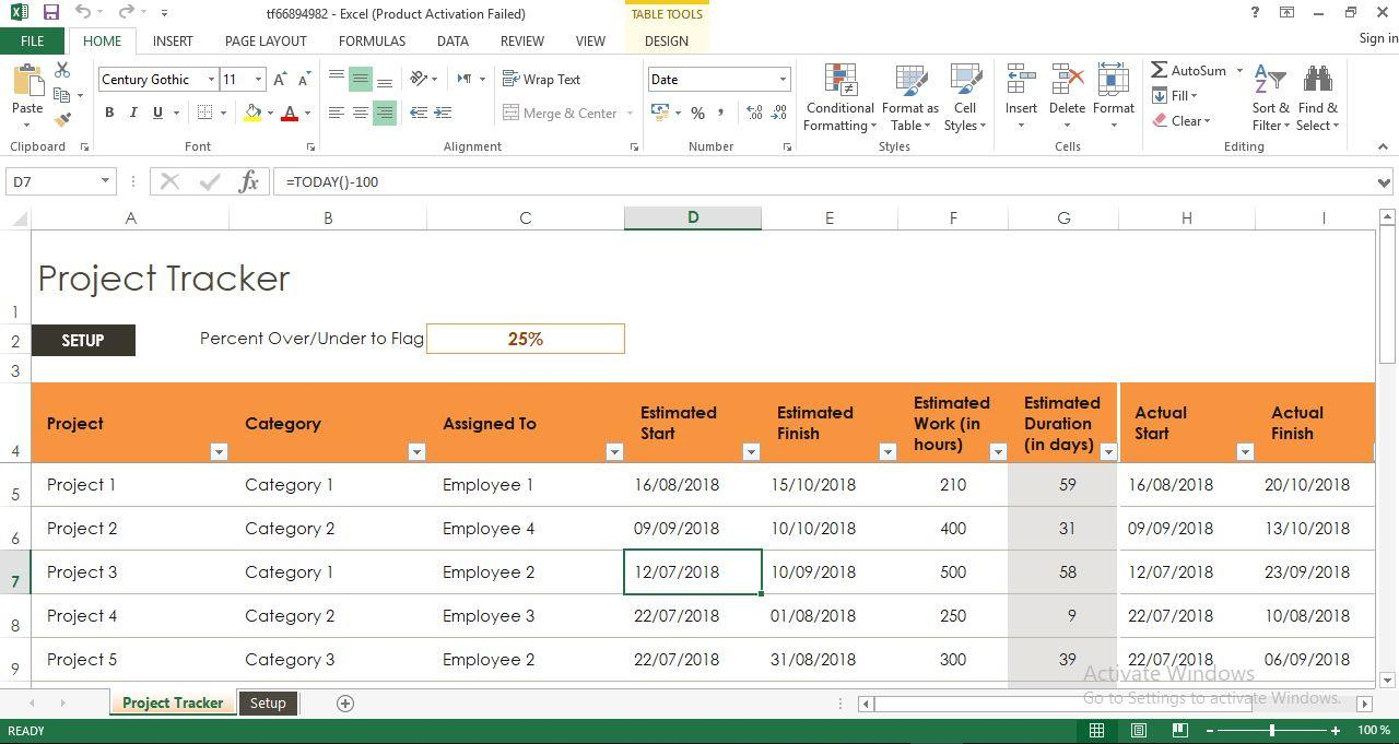 Excel Template Project Tracker
