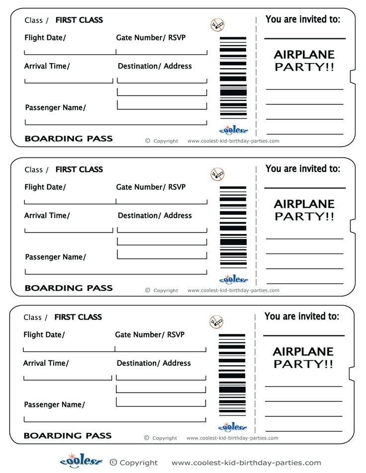 Flight Ticket Invite Template