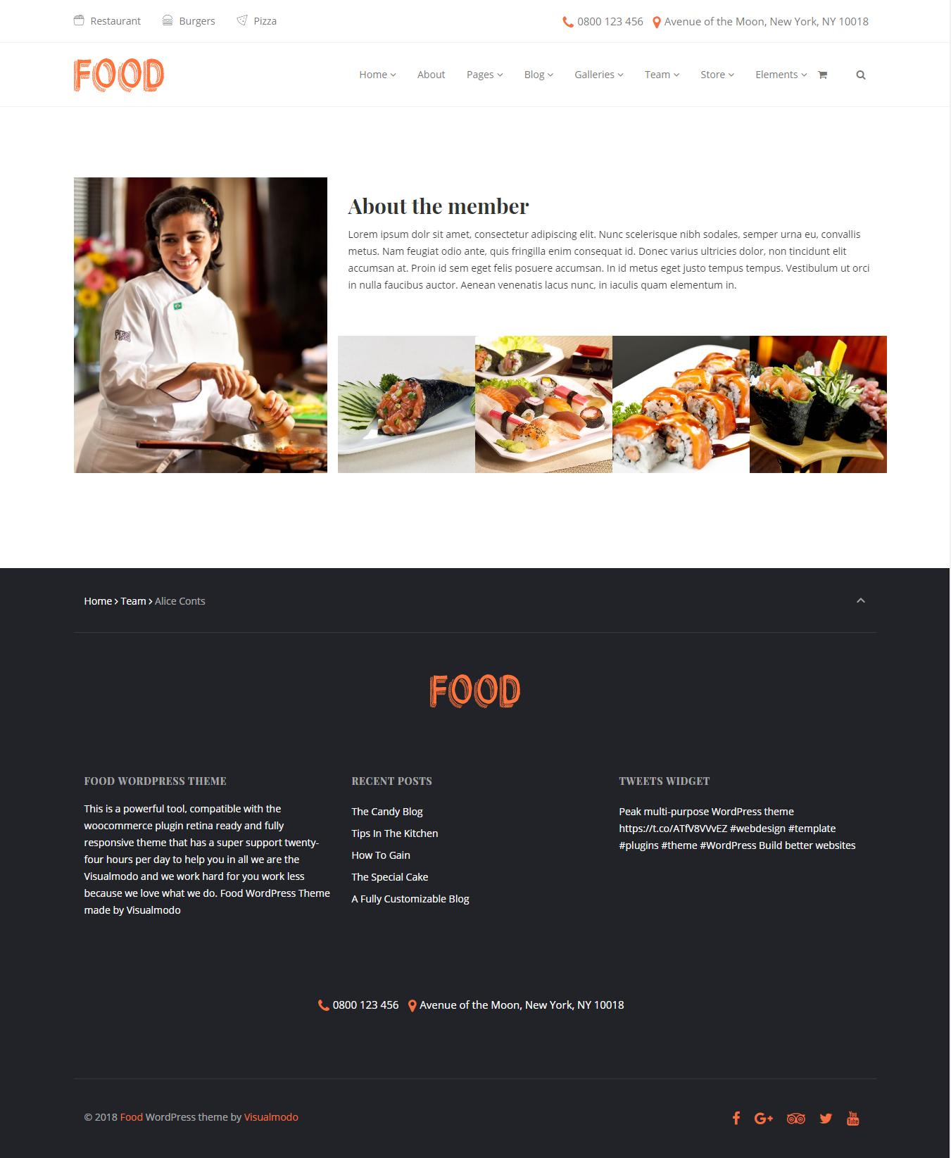 Food Restaurant Template WordPress