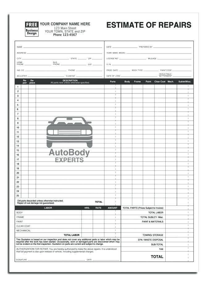 Free Auto Body Estimate Template