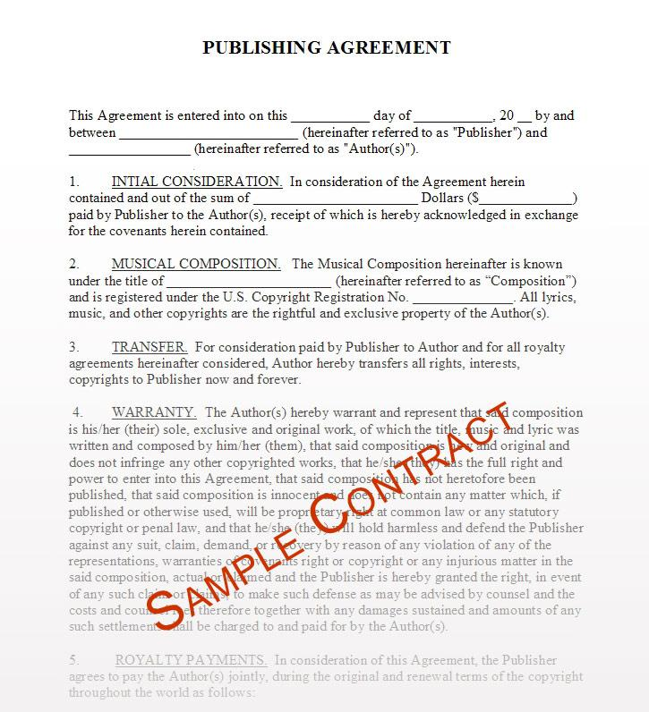 Free Music Publishing Contract Template