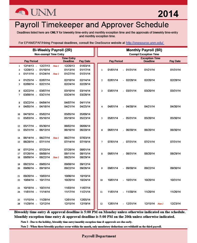 Free Payroll Calendar Template 2018
