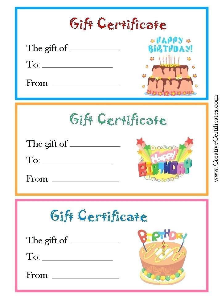 Free Printable Gift Certificates Templates Birthdays
