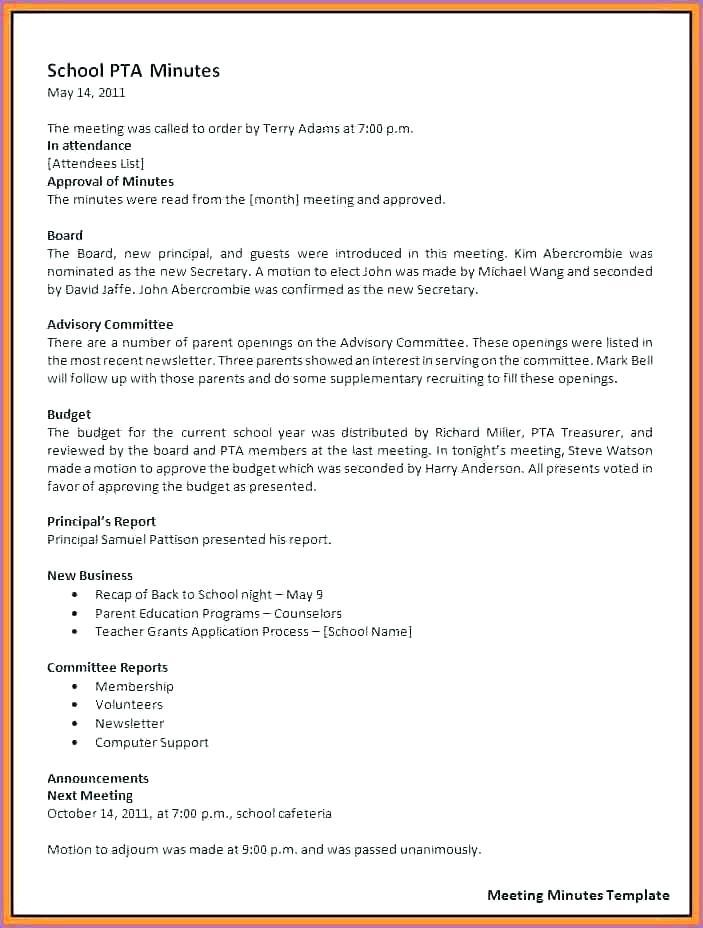 Free Pta Meeting Minutes Template