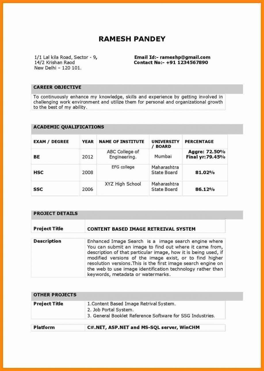 Fresher Resume Template India