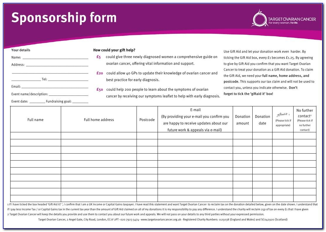 Fundraising Sponsor Form Template