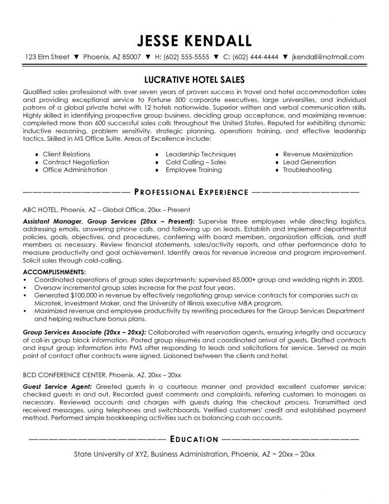 Hotel Sales Manager Resume Template