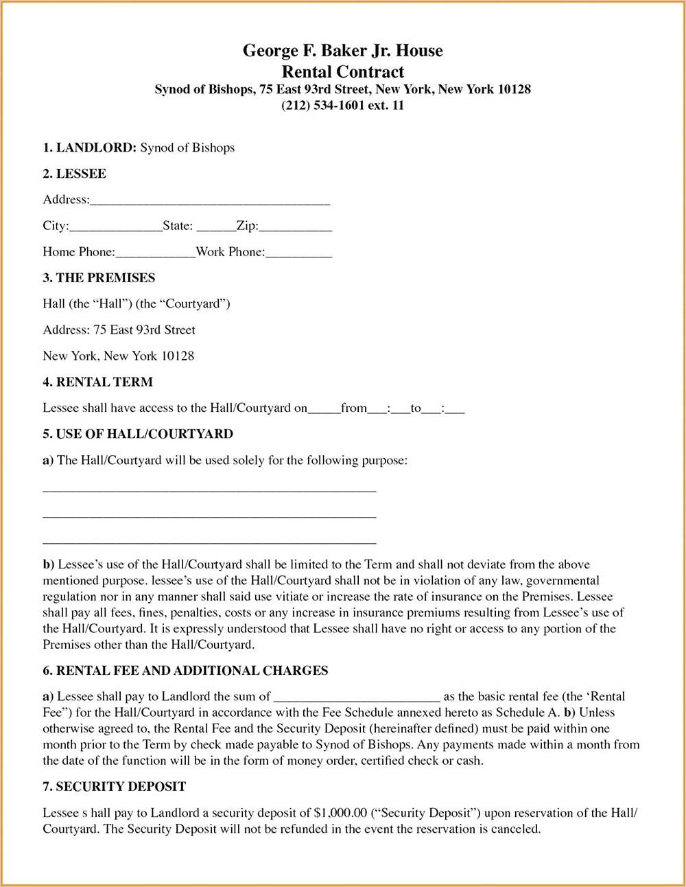House Rental Lease Template