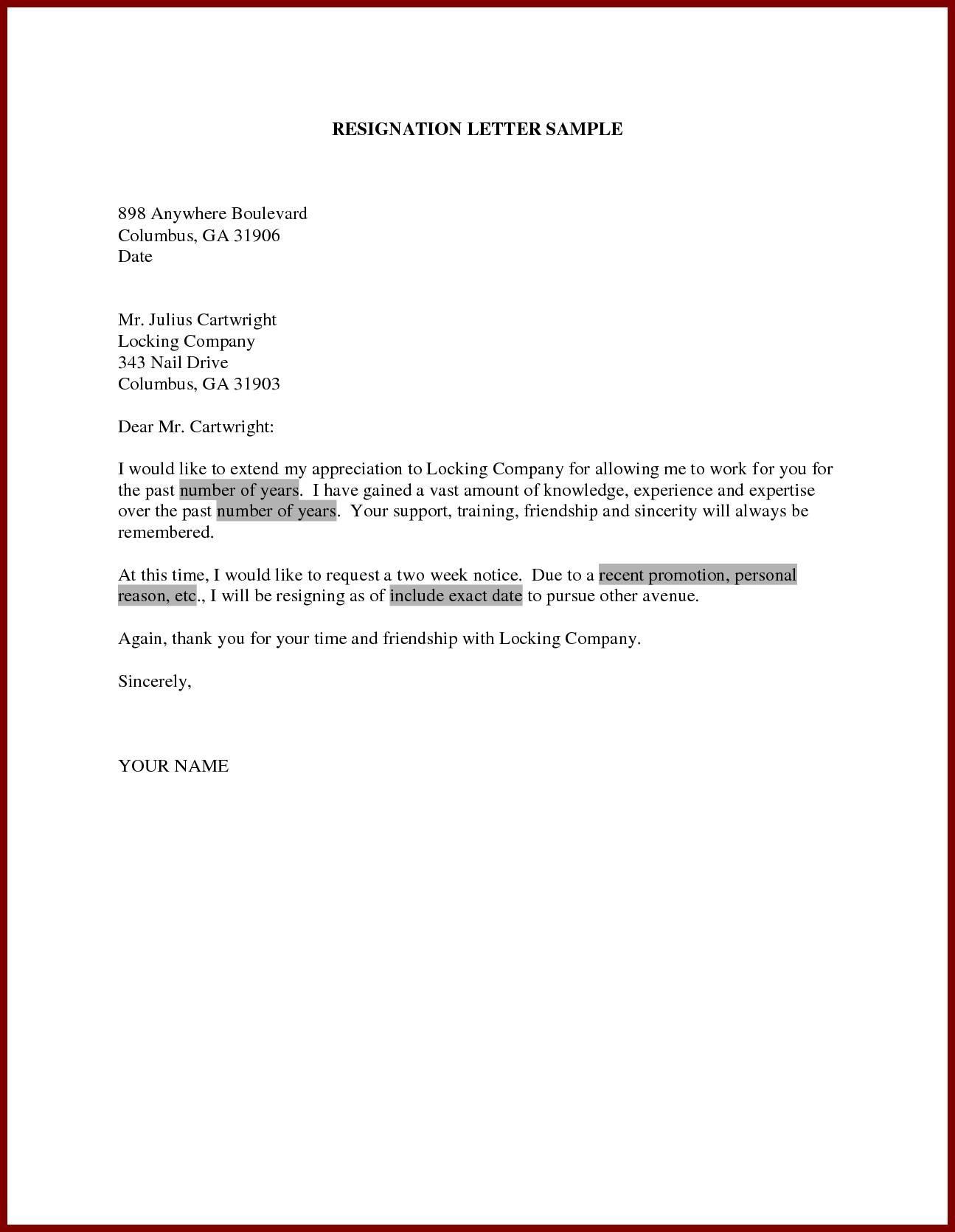 Letter Resignation Template Uk