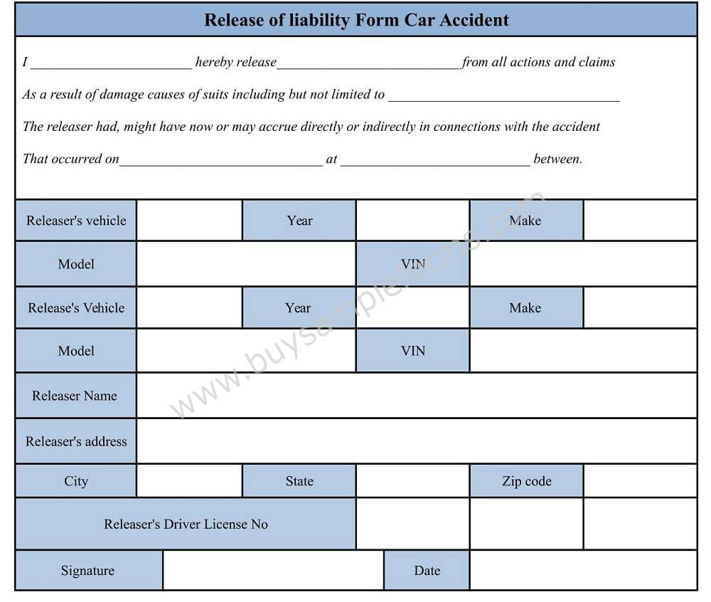 Liability Release Form Template Car Accident