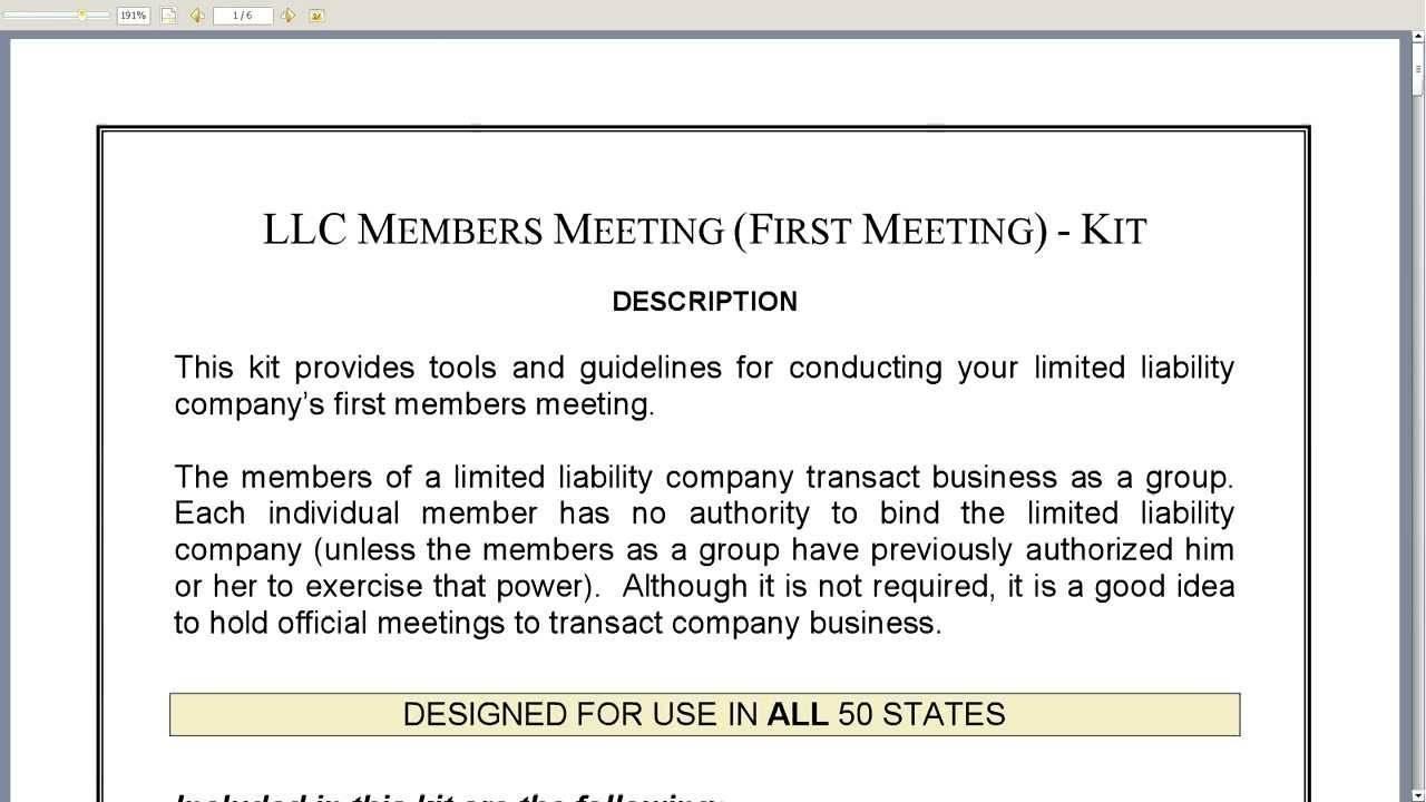 Llc Meeting Minutes Template
