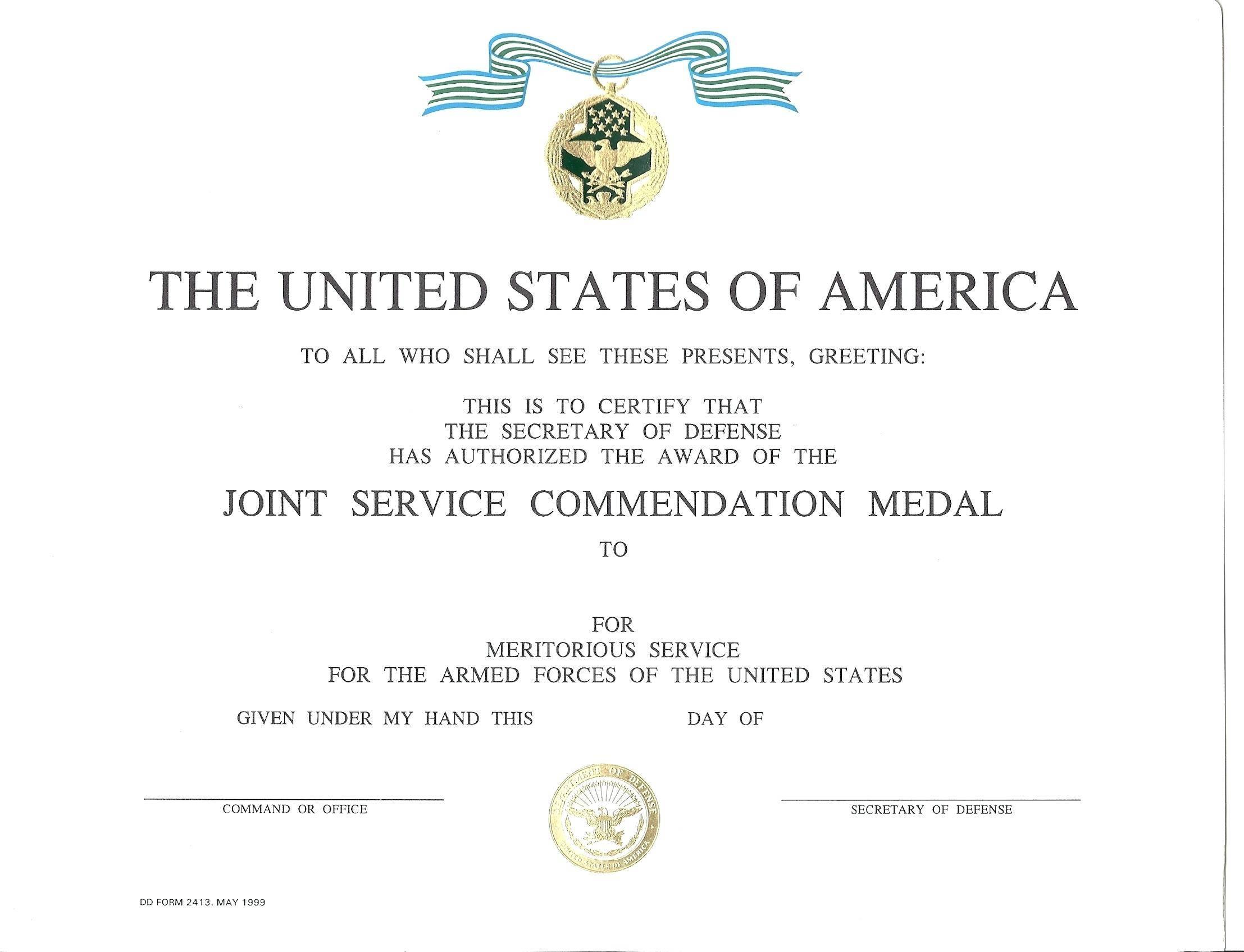 Military Award Certificate Template