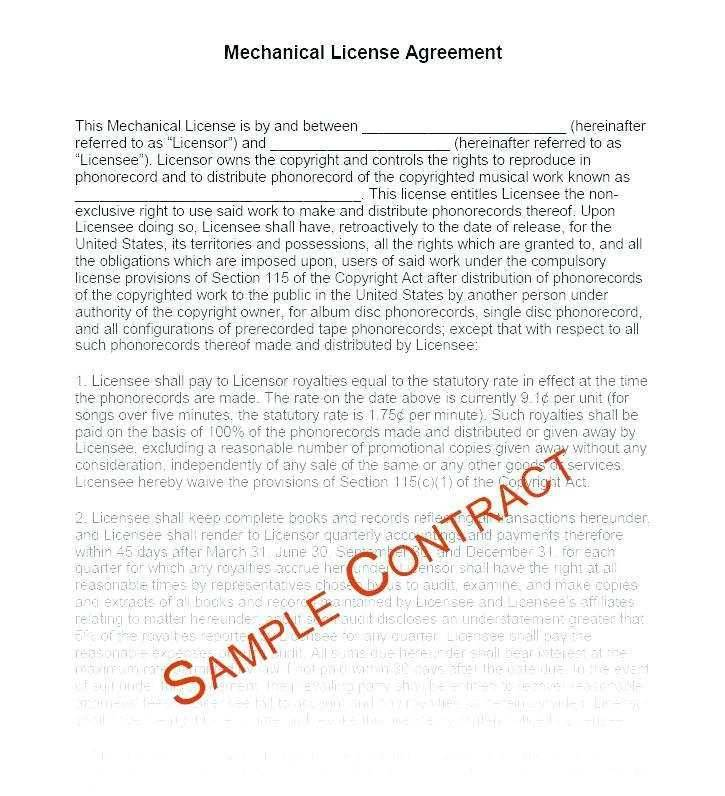 Music Royalty Contract Template