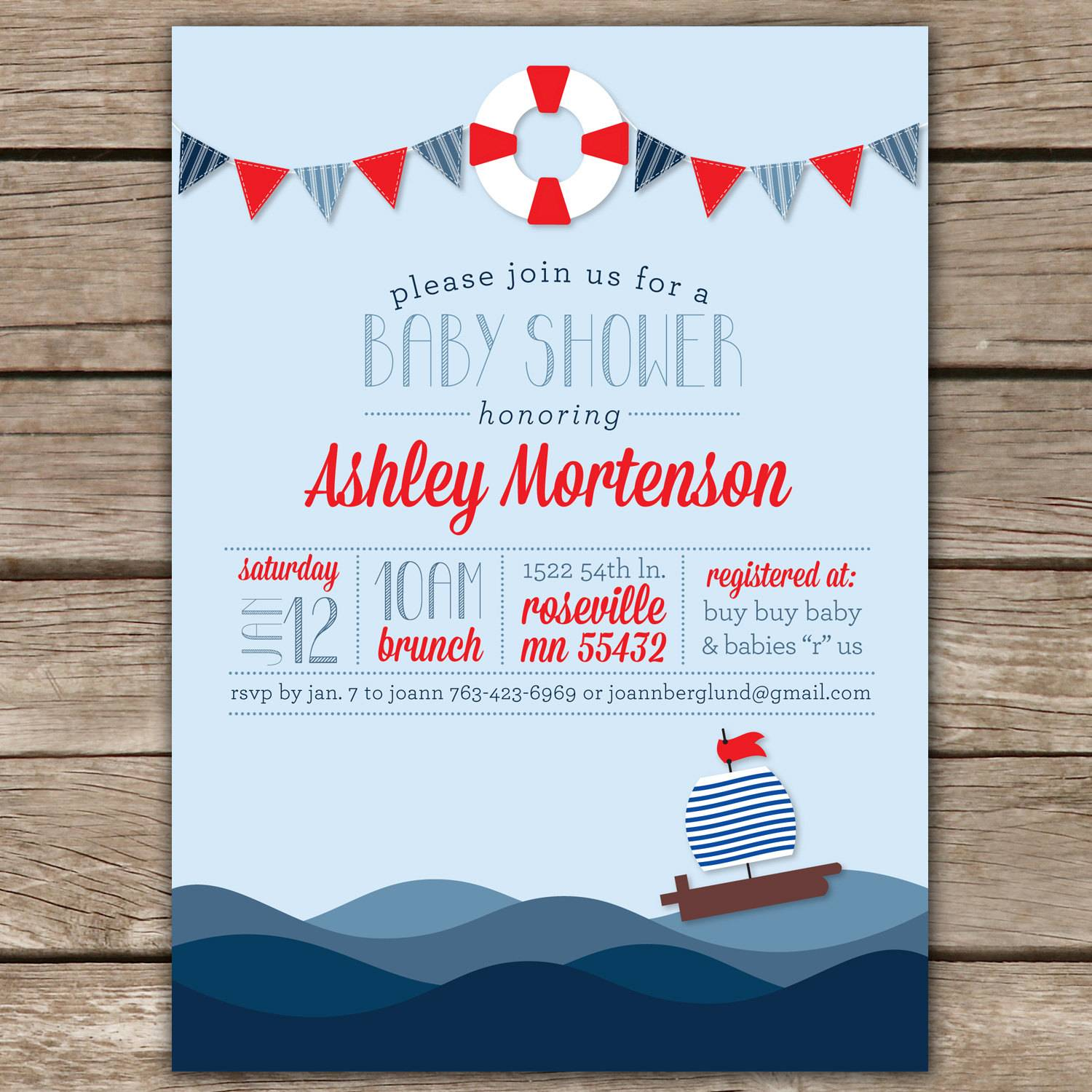 Nautical Baby Invitation Template