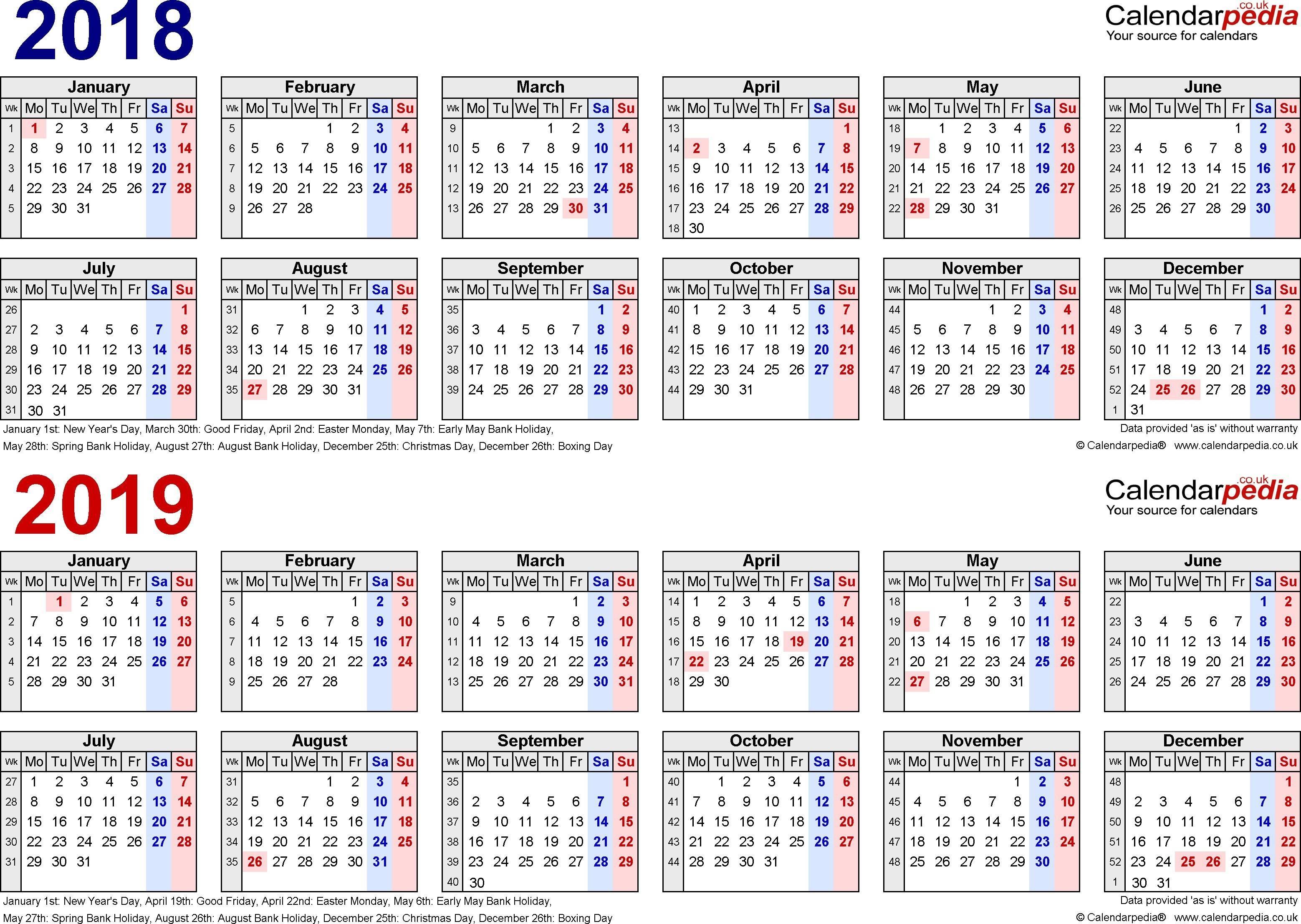 Payroll Calendar Template 2019