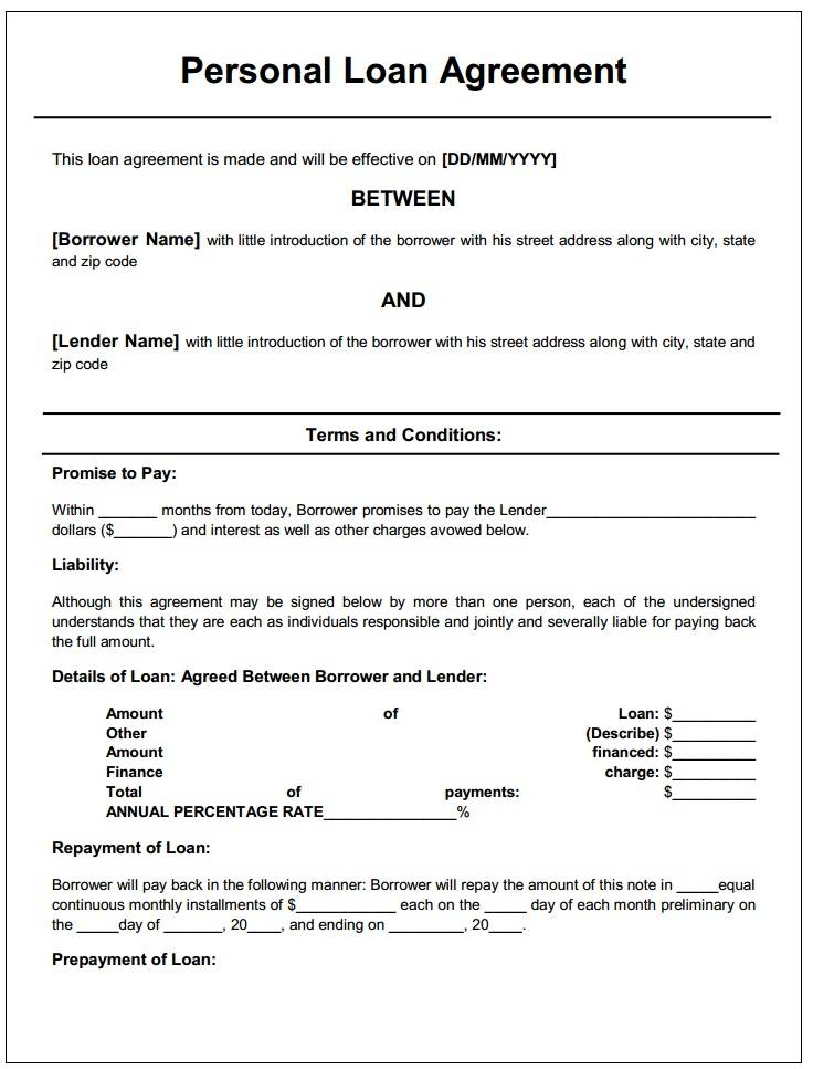 Private Loan Agreement Template Uk