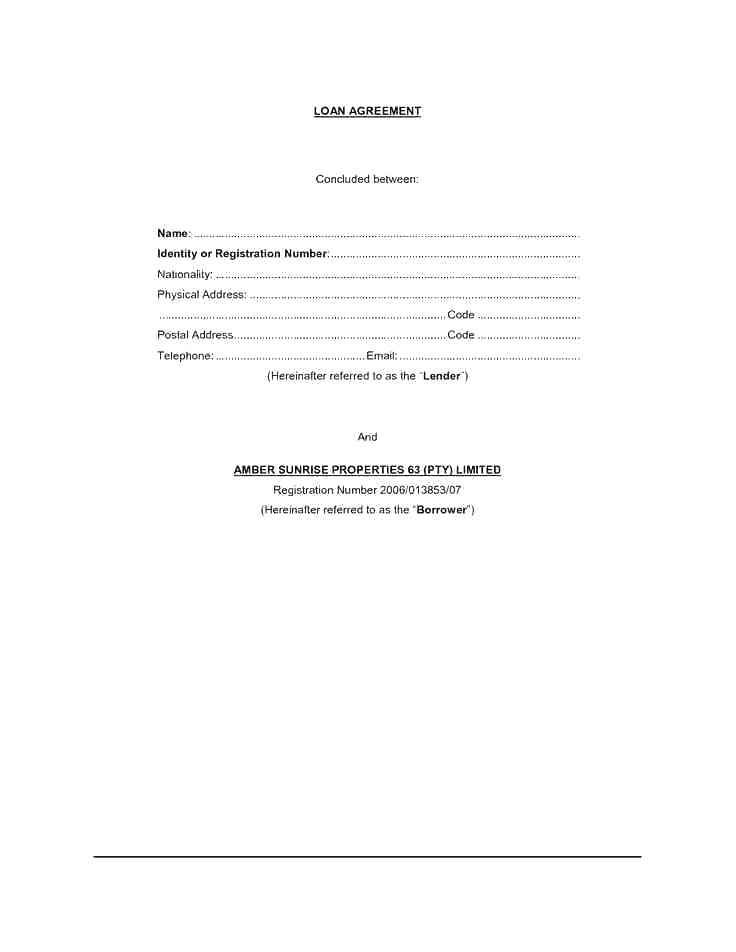 Private Loan Contract Example