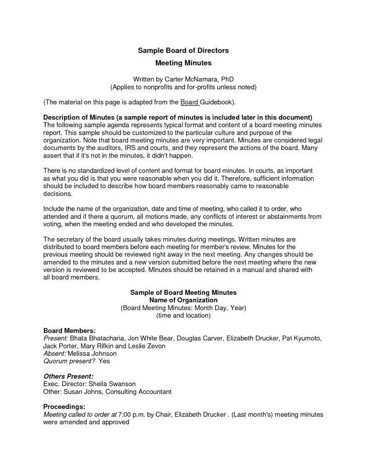Project Management Meeting Minutes Template Free