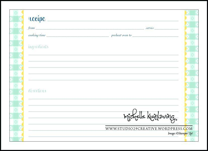 Recipe Card Blank Template