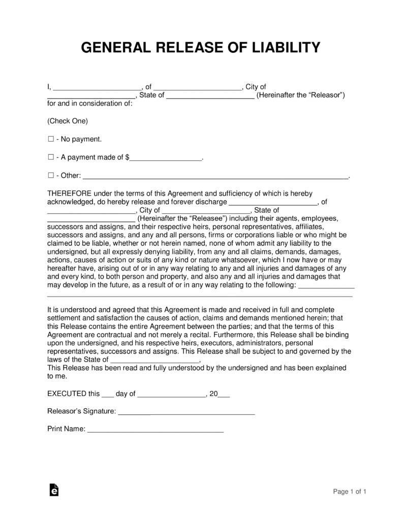Release Of Liability Agreement Template
