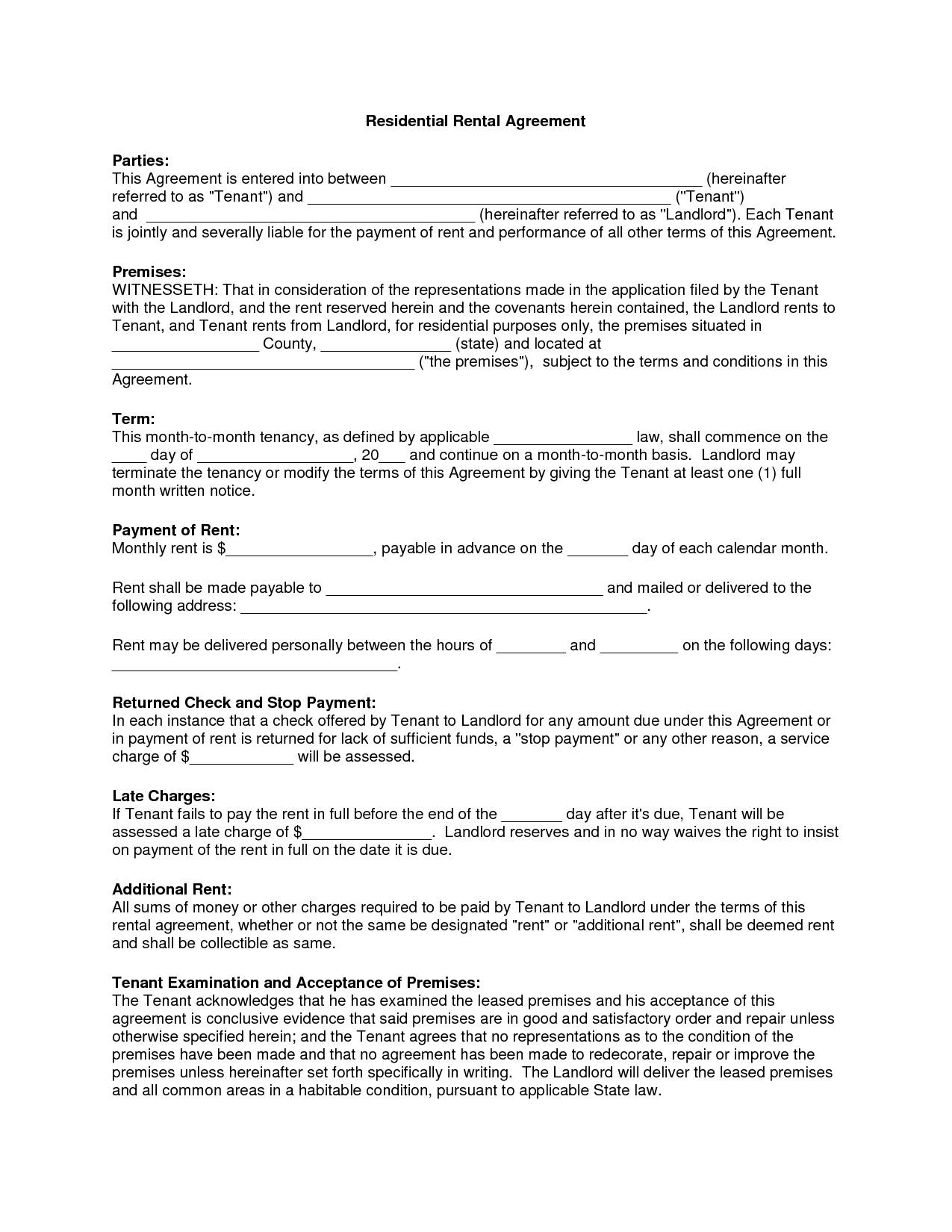 Residential Rental Agreement Template South Africa