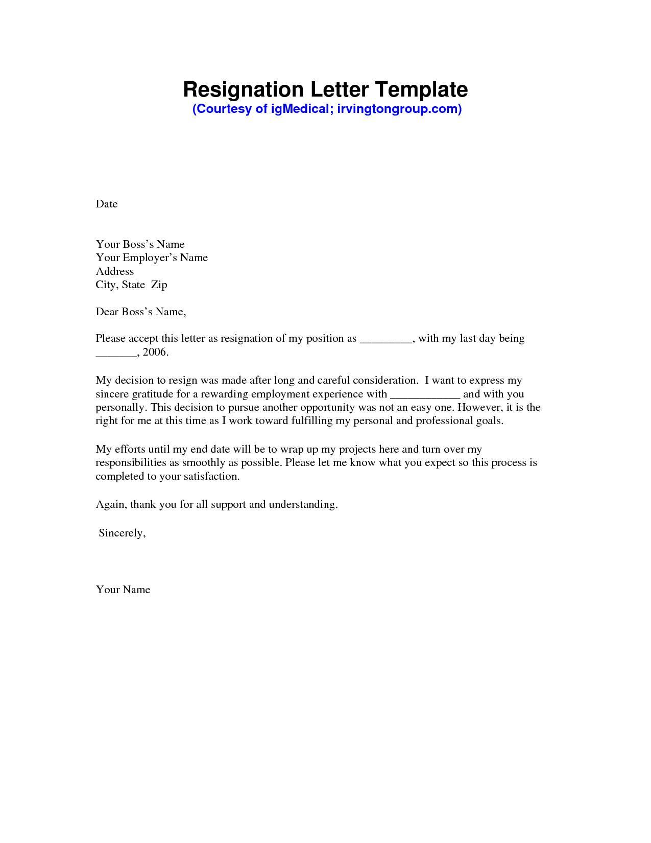 Resignation Letter Sample Template Free