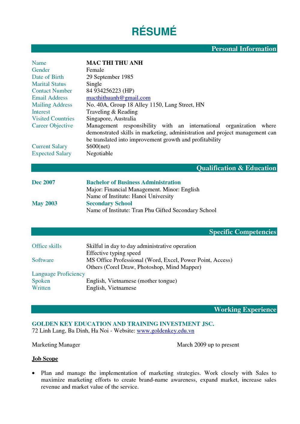 Resume Templates For Macy's