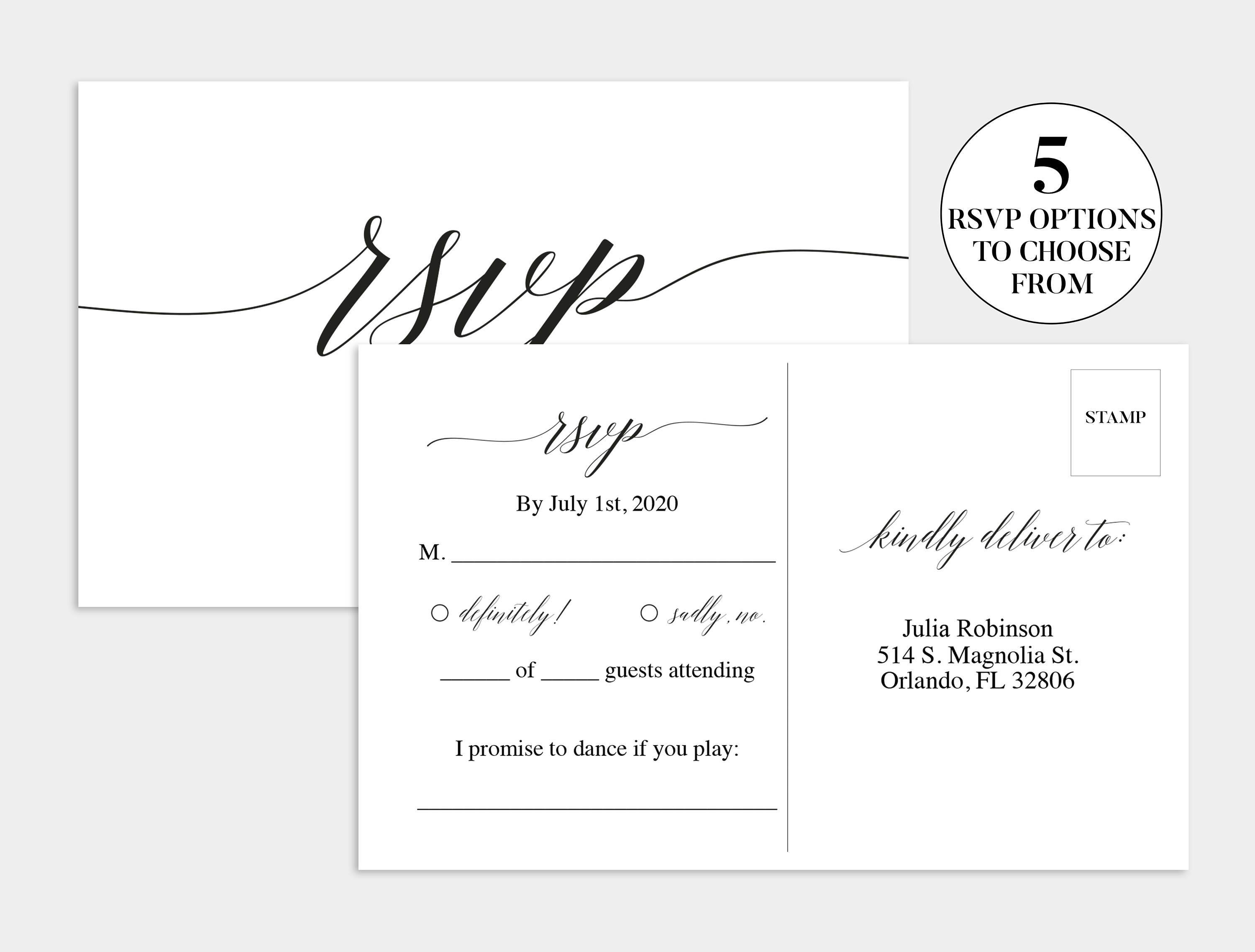 Rsvp Wedding Postcard Template