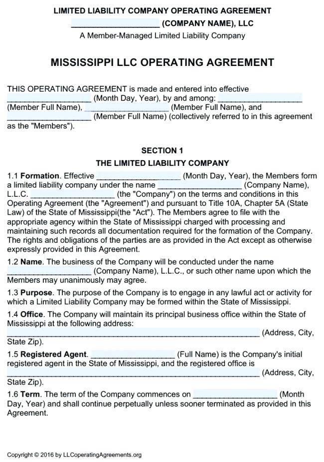 Single Member Llc Operating Agreement Virginia Template